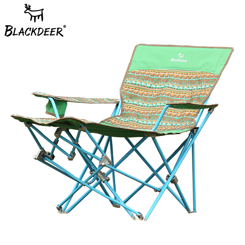 Black deer outdoor recliner lunch break chair leisure folding chair travel camping Oxford cloth portable camping chair