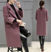 The 2017 season a new winter coat size Korean loose wool coat in the long wool coat girl