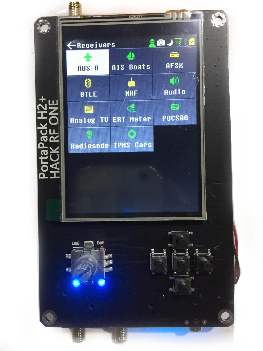 Portapack H2 extends the touch screen for hackrf one 3.2 inch portable SDR sender and receive