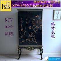 Bar KTV wardrobe European solid wood carved whole wardrobe Neoclassical painted gold box locker customization