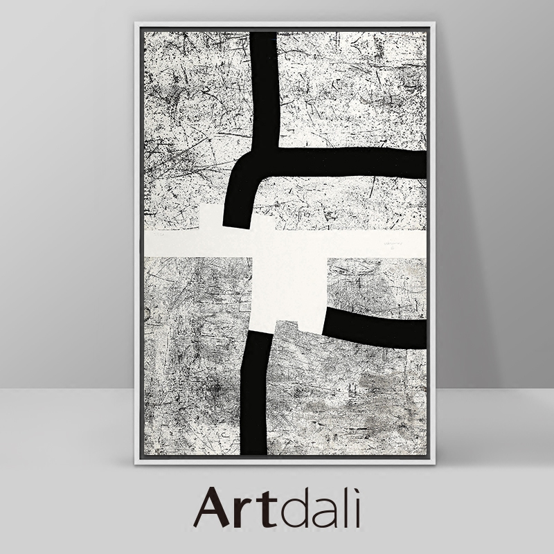 Artali Nordic Hall Vertical Black-and-White Decorative Painting Modern Living Room Abstract Hanging Painting Chilita-Cartography