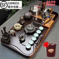 黑檀实木茶盘整套泡茶功夫茶具套组紫砂茶杯全自动一体茶臺家用