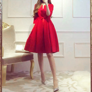 Toast 2017 summer bride service wedding dress red short waisted women dress winter huimen banquet