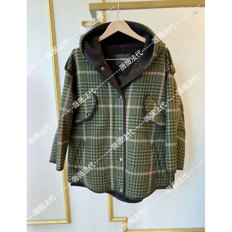 MAJE loose plaid hooded fur coat 20 autumn winter female MFPOU00436