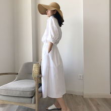 Amyy studios2018 spring and summer new cotton holiday wind skirt long-sleeved shirt skirt white dress female