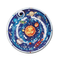 Learn new Bell jigsaw puzzle jigsaw planet kindergarten early childhood education of the universe round wooden table