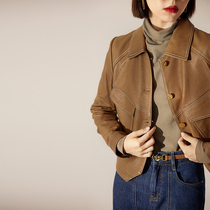 MEIYANG MEIYANG (High Line) toffee leather jacket 2021 new imported leather jacket spring and autumn women