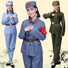 Adult Red Army Dresses Men and Women's Eighth Route Army Dresses Military Dresses Performance Red Guard New Fourth Army Liberation Dance Dresses