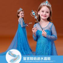 Ледяной край 2 принцесса Айза платье девушки день рождения платье Айша дети осень и зима Айша хвост юбка