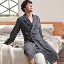 Халат мужской весенний и осенний хлопок с длинными рукавами утреннее платье пижамы весенний и осенний модели средней длины личности прилив мужской халат хлопок тонкий