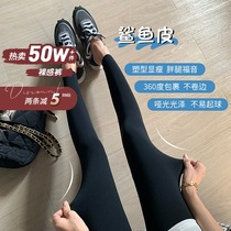 (Hu Chuliang) Shark pants skinny leather slimming hip Spring and Autumn wear belly pants women