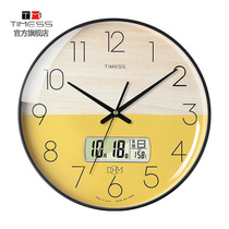 TIMESS clock 錶 wall clock living room home fashion creative wall simple quartz electronic punch-free light luxury clock