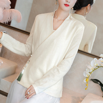 Tang suit jacket improved Hanfu collar Chinese knitted jacket Zen womens tea dress womens thick autumn and winter clothes