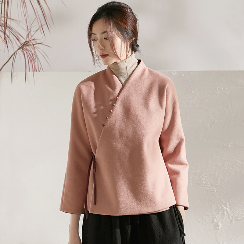 Autumn and winter tea dress female Zen literature and art Chinese style tea artist Chinese coat Buddha 繫 jacket plus thick Tang dress Han clothing