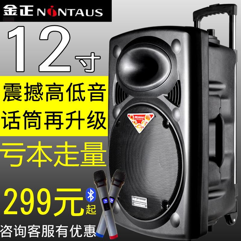 Jinzheng 12 inch square dance sound box outdoor portable trolley mobile high power player N6