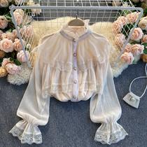 Chao brand chiffon long sleeve shirt female sweet wooden ear collar Korean spring and summer new design sense lace top