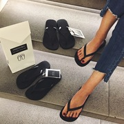 The new onedouble high - end Black Flip - flops, women's casual slippers, women 's summer feet, non slip, flat with beach shoes