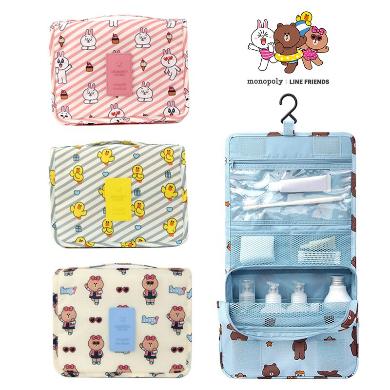 Korea Genuine Line Friends Cute Brown Bear Waterproof Folding Portable Travel Cosmetic bag