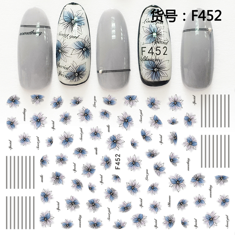 Nail Sticker Ornaments Nail Sticker South Korea Waterproof 3D Nail Full Sticker Net Red Tremble Sticker Decoration F452