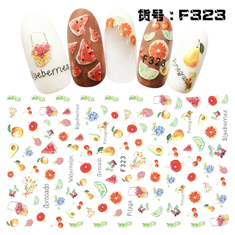 [The goods stop production and no stock]Nail Sticker Ornaments Nail Sticker Korean Waterproof 3D Nail Sticker Net Red Sticker Watermark Sticker F323