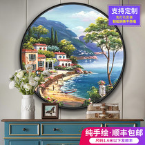 Hand-painted modern Mediterranean landscape painting porch decoration living room fresco corridor hanging circular painting