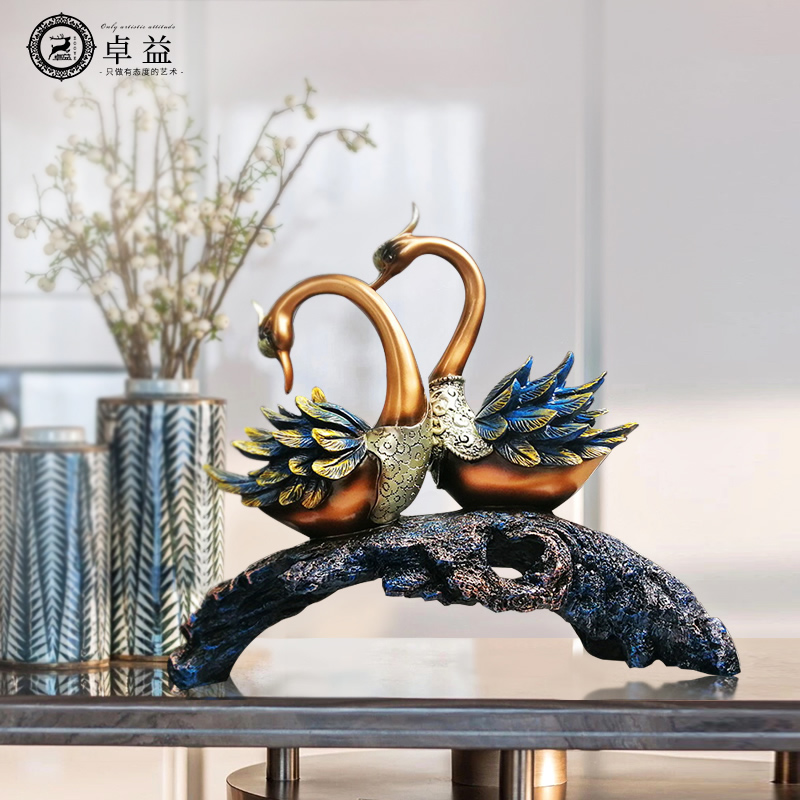American Lightweight Living Room Decoration Swan Arrangement Wedding Gift Room Decoration Gift European Home Decoration Crafts