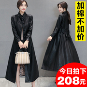 Haining leather Female Long Maxi sheepskin coat 2017 new slim slim dress coat