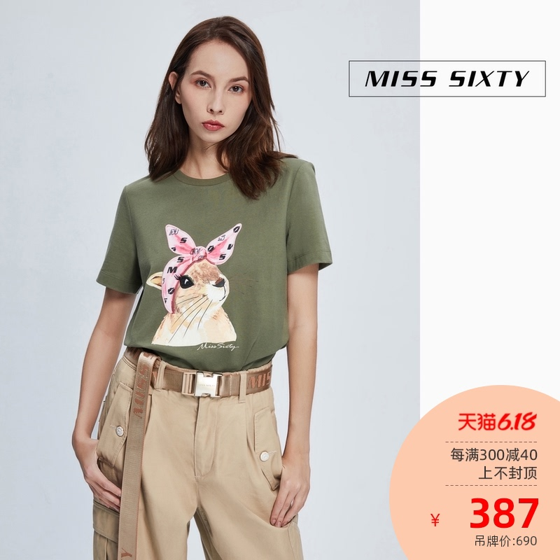 Miss sixty2020 new pure cotton printing fashion top round neck loose skin friendly short sleeve T-shirt for women