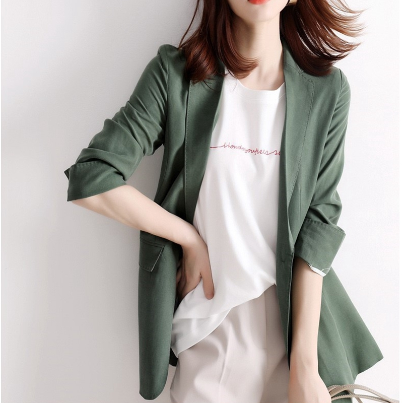 Suit coat women's summer thin 2020 new casual and versatile Korean version butter green one button silk small suit