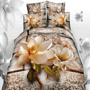 3D cotton sheets, four sets of twill solid quilt, wedding pure cotton printing, 1.8m, 2m, 2.2m bedding