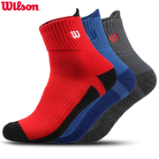 Wilson will win 3 pairs of winter sports socks in the thick warm towel for male basketball running socks