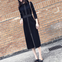 Large size womens autumn 2020 new fat mm foreign long-sleeved dress show thin temperament over knee-length skirt age reduction