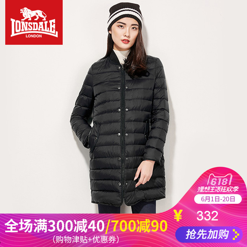 Dragon and Lion Dell Outdoor Down Dress Women's Light and Thin Jacket of New Winter Mid-long Duck Down Collar