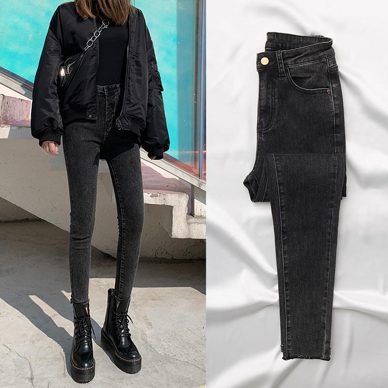 Autumn Winter 2020 grey and black jeans womens high waist thin tight feet thin velvet new plush pants wear