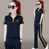 Wide leg pants sports suit womens summer 2021 new fashion loose thin short-sleeved running suit casual two-piece set tide