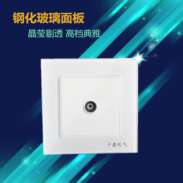 Model 86 White Tempered Glass Panel for TV Socket with 15-year Quality Guarantee