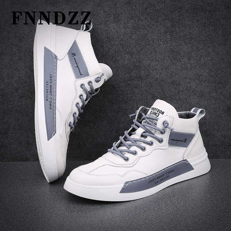Fnndzz men's shoes autumn trend shoes leather lace up color matching small white shoes youth versatile high top light short boots
