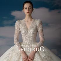 Chu Dai main wedding dress 2021 new bride V collar high-end retro palace style thin trailing long sleeve dress