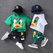 Children's short suit boy summer 2017 new Korean 3456 years old baby two pieces of cotton cartoon children