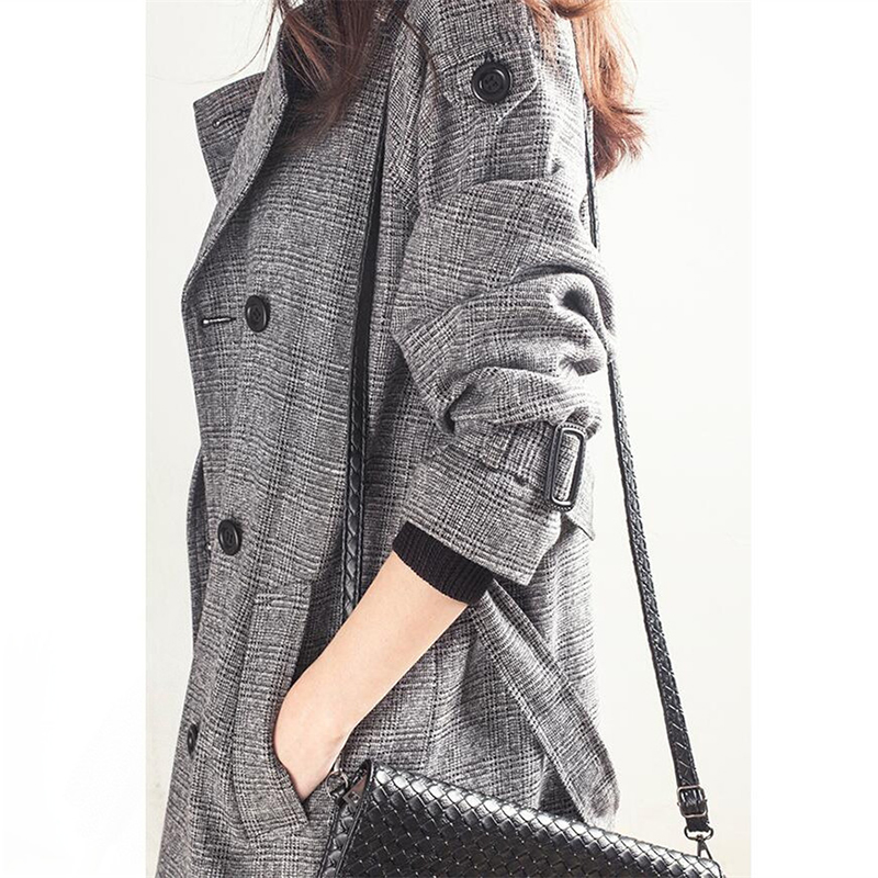 Windshield autumn model 2018 new womens dignified atmosphere in the long version of the Korean version of the hundred-toned slim look thin thousand bird coat girl