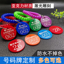Number plate Digital hand brand restaurant Malatang number plate with clip storage bag number storage key card sticker customization