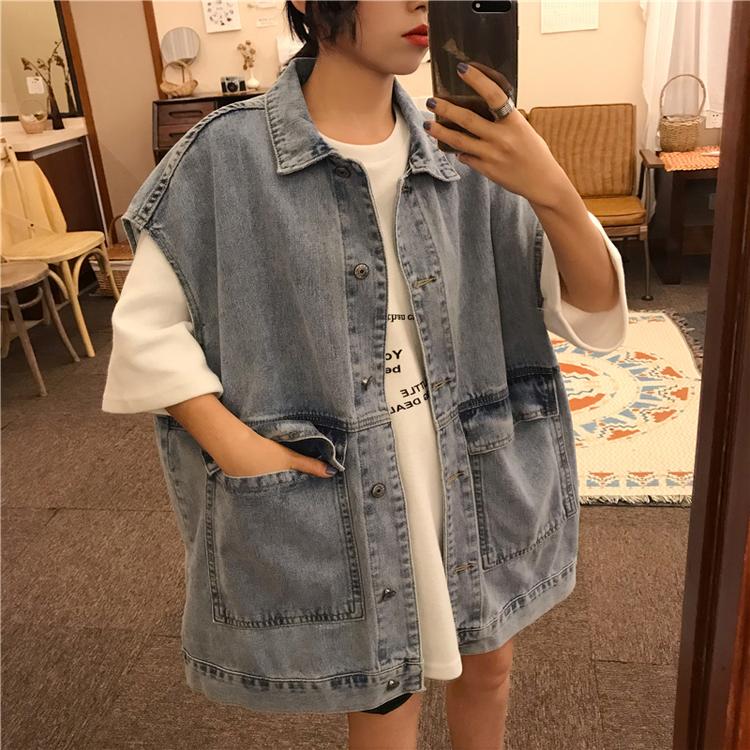 Vintage wild loose ins Korean version coat female spring and autumn large size fat mm sleeveless waistband denim horse clip coat summer