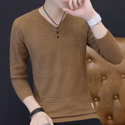 The fall of man long sleeved T-shirt V neck knit shirt Korean slim Mens autumn clothes on clothes youth sweater tide