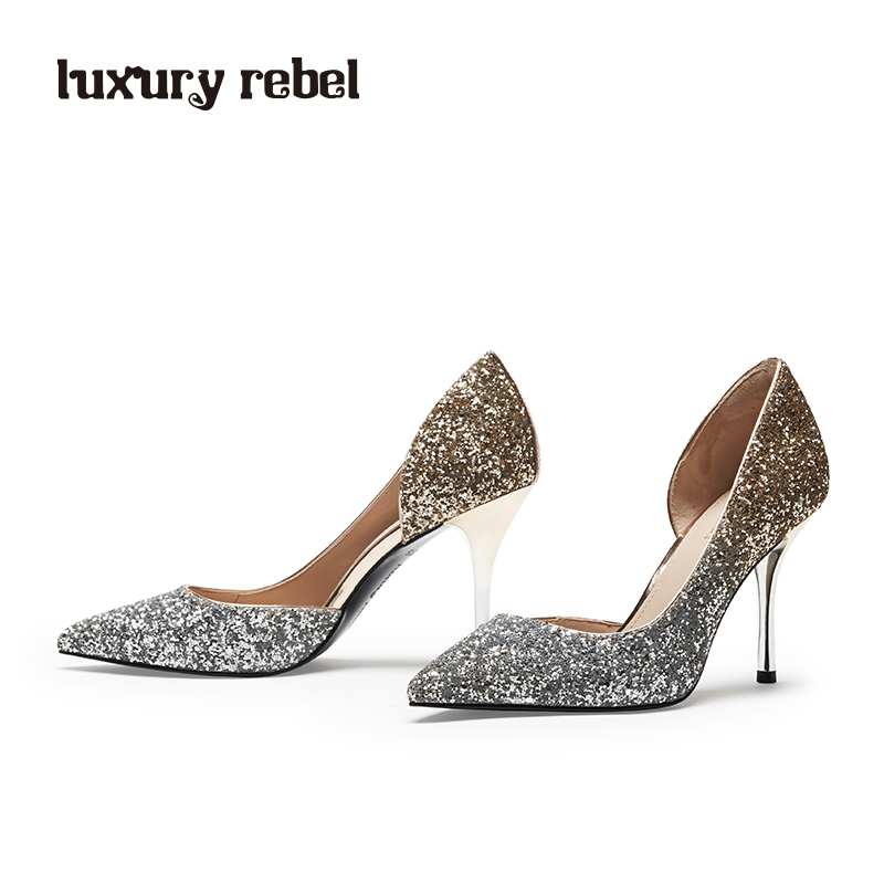 LR women's shoes Luxury Rebel2018 spring new elegant high-heeled pointed fashion shoes