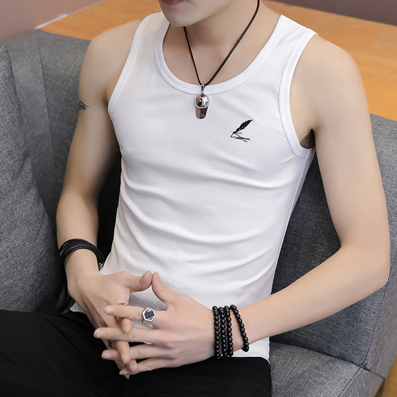 White cotton vest men's sports, elasticity and fitness trend thin men's waistcoat in summer