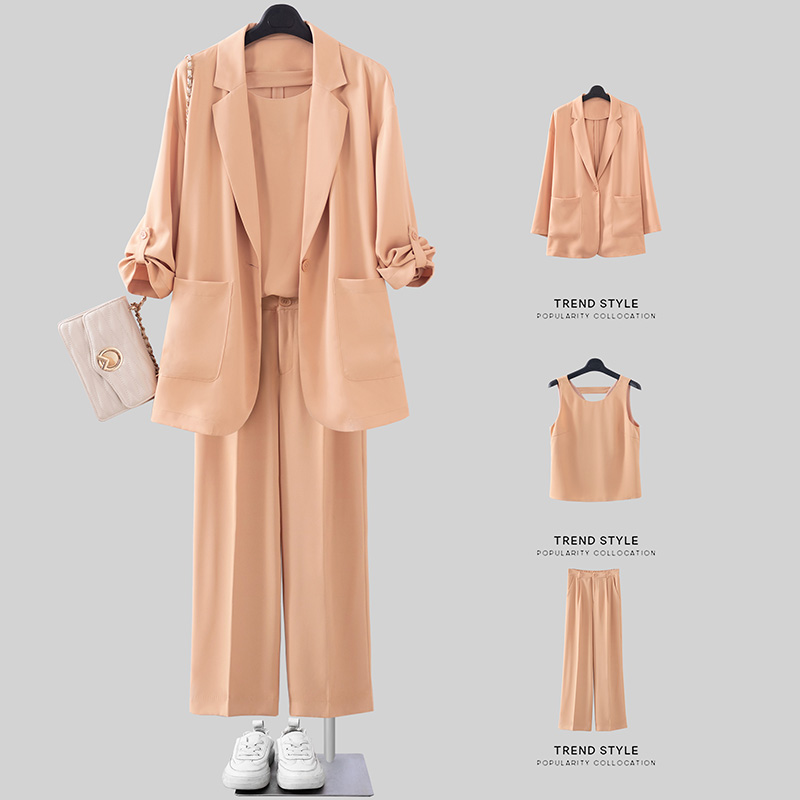 Acetic acid blazer, three piece suit, women's thin style, chiffon suit, fashion suit, two piece suit, summer