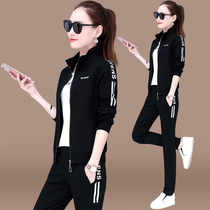 Sports Set Women Spring and Autumn 2021 New Fashion Large Size Loose Long Sleeve Sweatshirt Three Piece Running Casual Wear