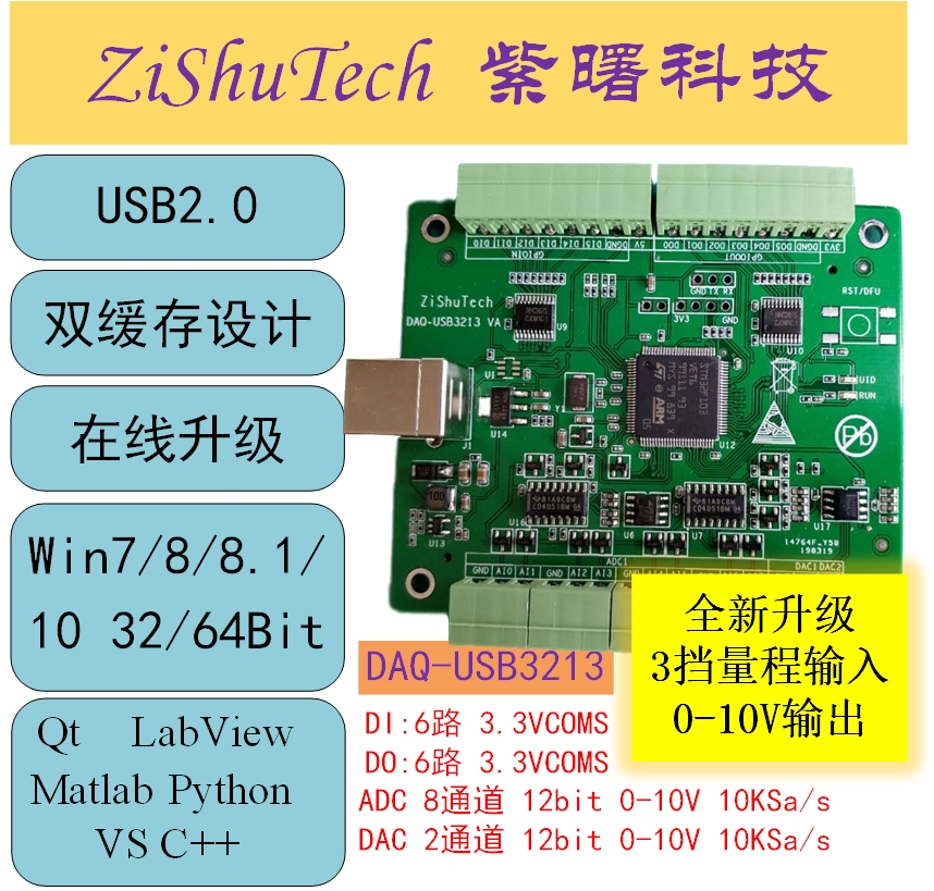 USB data acquisition card 10V 8 channel 12 bit ADC 12 bit DAC DIO LabVIEW Python 3213