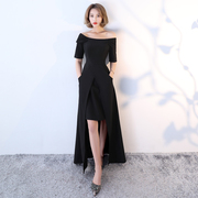 2017 new winter evening dress female word shoulder Toastmaster birthday party long thin year dress