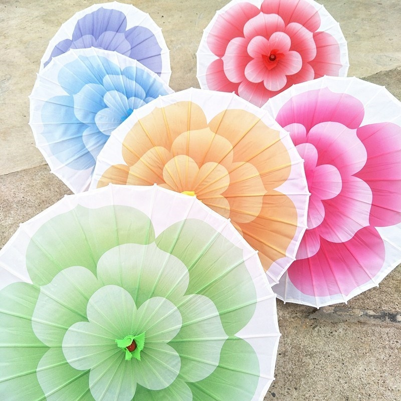 Lifting umbrella with long handle in the air for light food decoration umbrella walk show props teahouse gift Dance Umbrella classical silk cloth